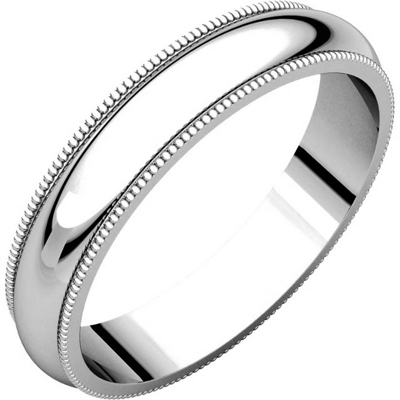 14K White Gold 4mm Wide Milgrain Edge Comfort Fit Plain Wedding Band