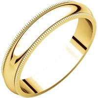 Comfort Fit Plain Wedding Band 14K Yellow Gold 4mm Wide Milgrain Edge