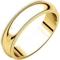18K Comfort Fit, Milgrain Edge, 5.0mm Wide Wedding Band