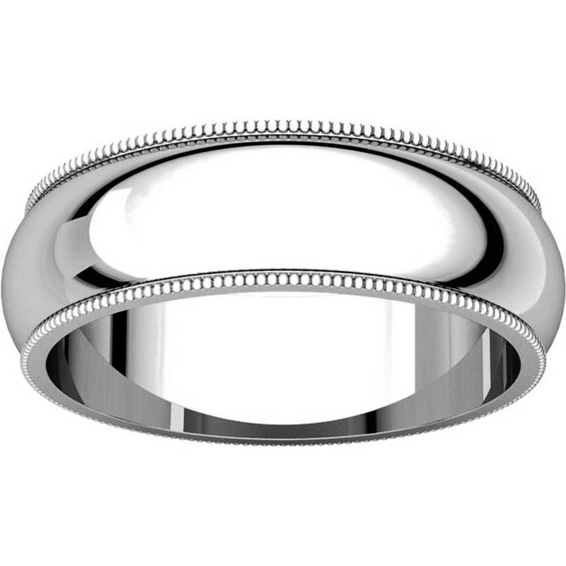 Item # T123881W - 14K Comfort Fit Milgrain 6mm Wedding Band View-3