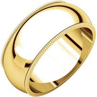 18K Yellow Gold Comfort Fit Milgrain Edge 8mm Wide Wedding Band