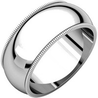 14K Comfort Fit Milgrain 8mm Plain Wedding Ring