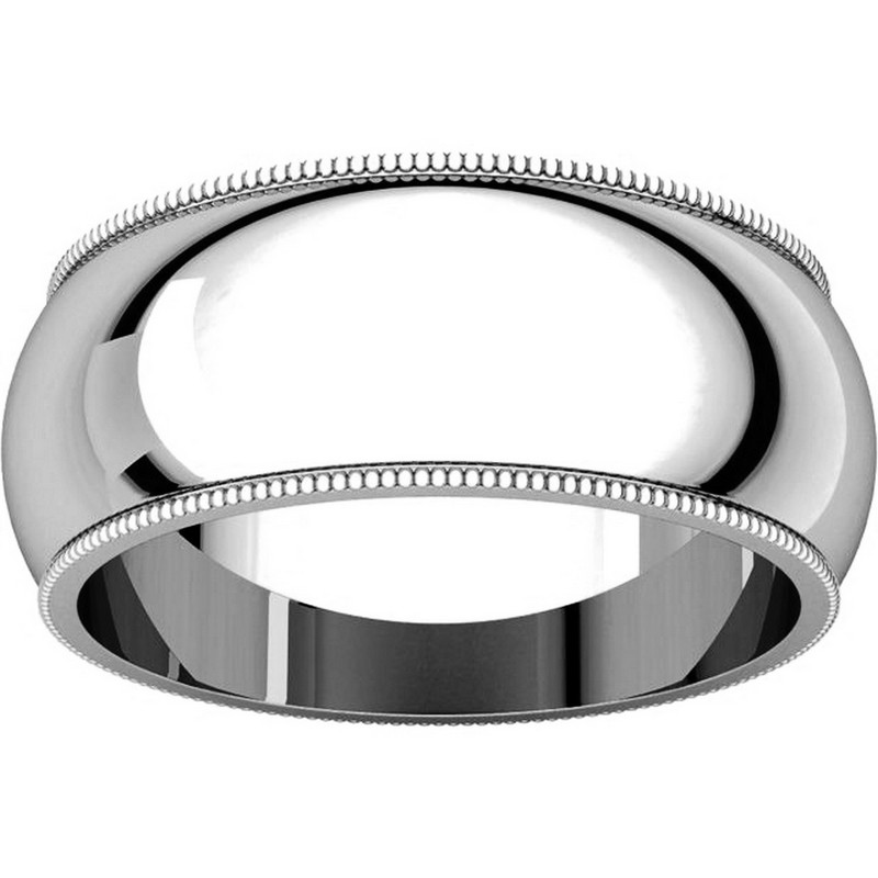 Item # T123891W - 14K Comfort Fit Milgrain 8mm Wedding Ring View-3