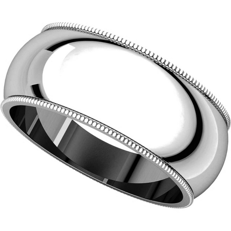 Item # T123891W - 14K Comfort Fit Milgrain 8mm Wedding Ring View-4