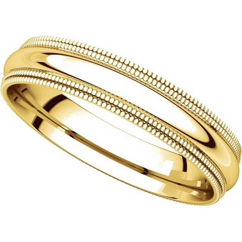 Item # TD123864 - 14K Gold Double Milgrain 4mm Comfort Fit Wedding Band View-4