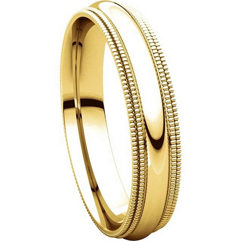 Item # TD123864 - 14K Gold Double Milgrain 4mm Comfort Fit Wedding Band View-5