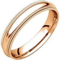 Item # TD123864R - 14K Rose Gold Double Milgrain 4mm Comfort Fit Wedding Band