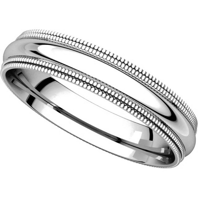 Item # TD123864W - 14K White Gold  Double Milgrain 4mm Comfort Fit Wedding Band View-4