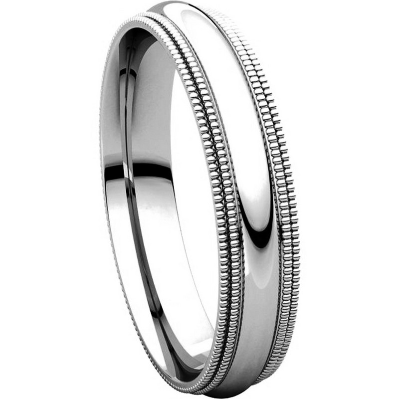 Item # TD123864W - 14K White Gold  Double Milgrain 4mm Comfort Fit Wedding Band View-5