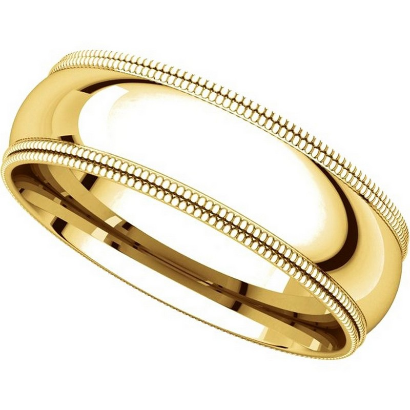 Item # TD123886E - 18K Gold 6mm Double Milgrain Comfort Fit Wedding Band View-4
