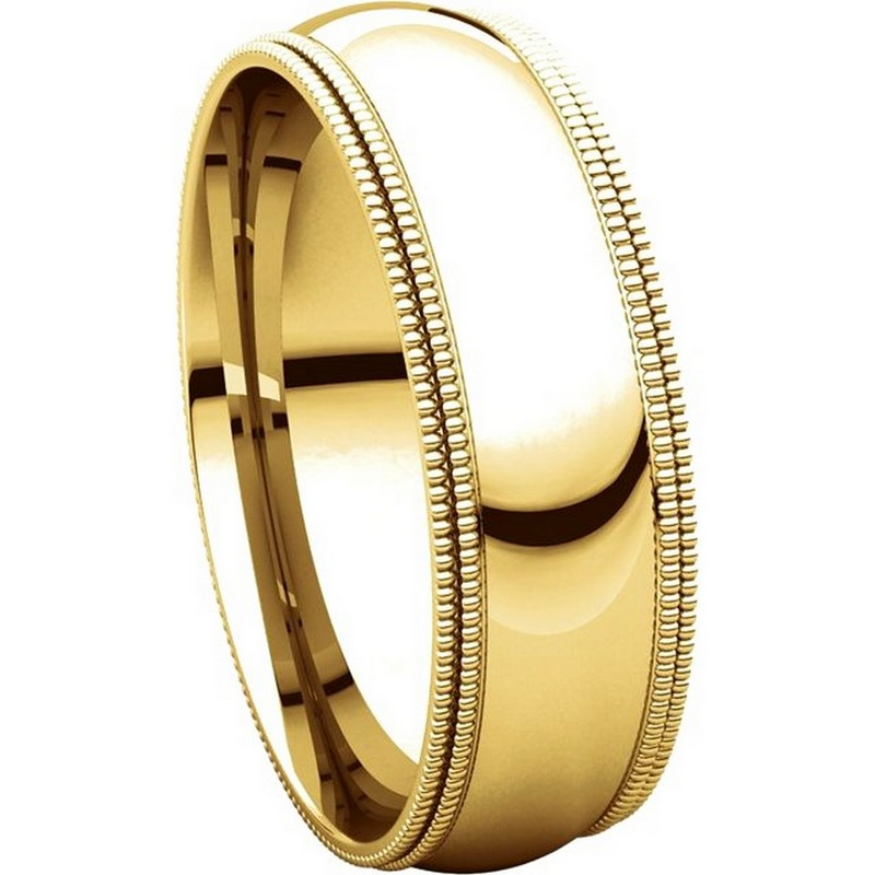 Item # TD123886E - 18K Gold 6mm Double Milgrain Comfort Fit Wedding Band View-5