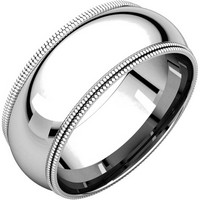 Item # TD123898WE - 18K White Gold 8mm Double Milgrain Wedding Band