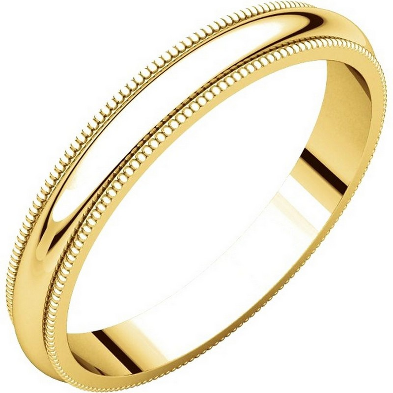 Item # TH23853E - 18K Gold 3mm Comfort Fit Milgrain Wedding Band View-1