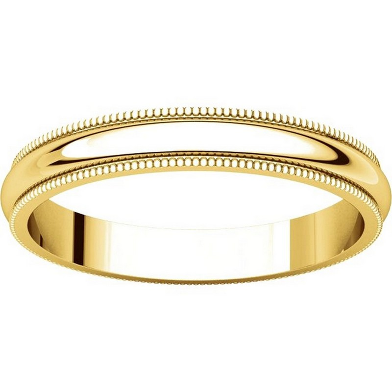 Item # TH23853E - 18K Gold 3mm Comfort Fit Milgrain Wedding Band View-3