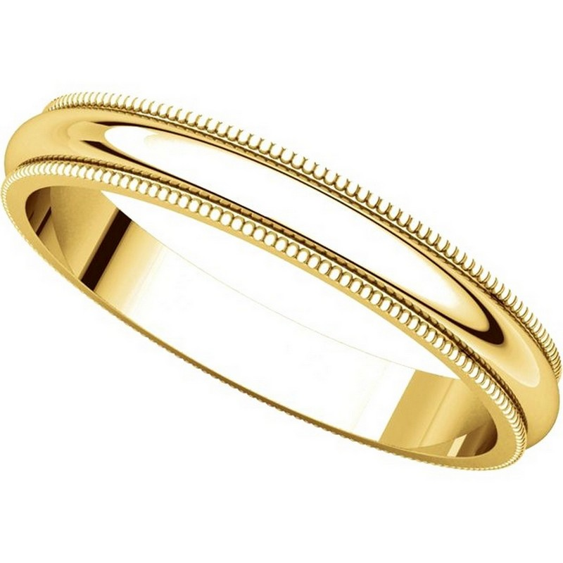 Item # TH23853E - 18K Gold 3mm Comfort Fit Milgrain Wedding Band View-4