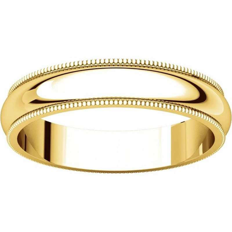 Item # TH23864E - 18K Gold 4mm Milgrain Comfort Fit Wedding Band View-3