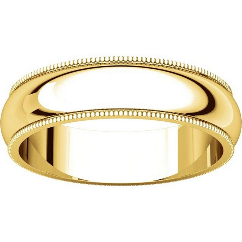 Item # TH23875E - 18K Gold 5mm Milgrain Comfort Fit Wedding Band View-3