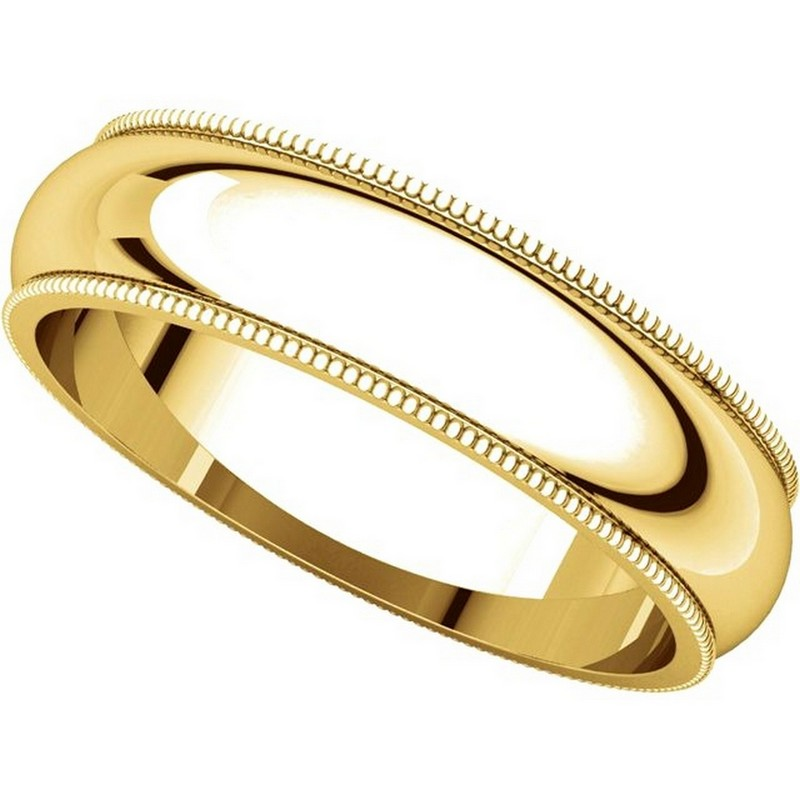 Item # TH23875E - 18K Gold 5mm Milgrain Comfort Fit Wedding Band View-4