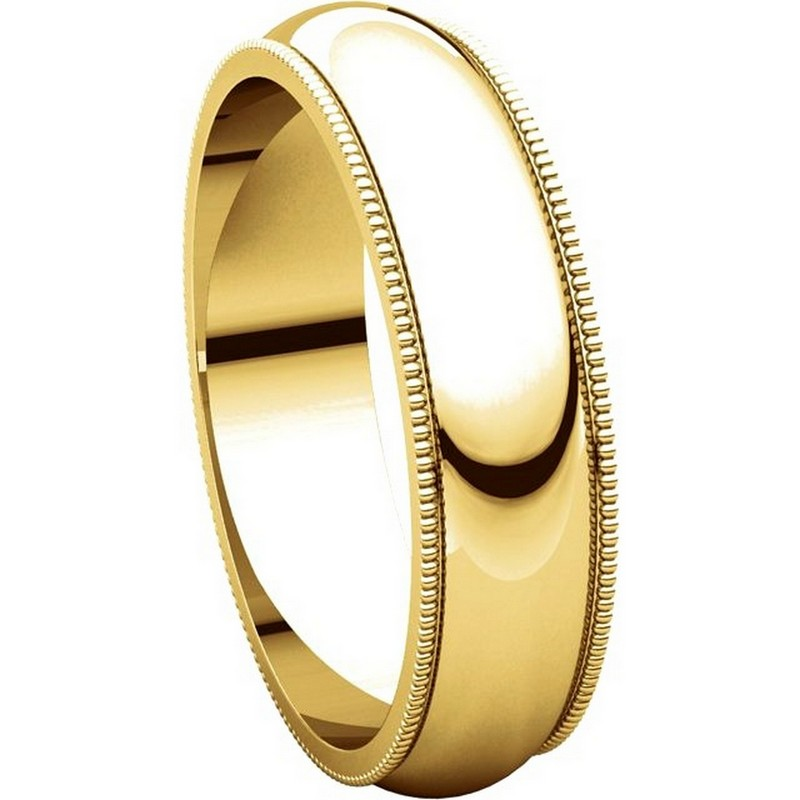 Item # TH23875E - 18K Gold 5mm Milgrain Comfort Fit Wedding Band View-5