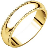 14K Gold 5mm Wide Milgrain Edge Comfort Fit Wedding Band
