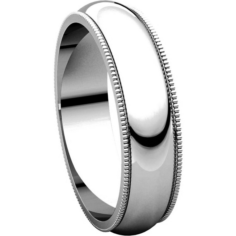 Item # TH23875W - 14K Gold 5mm  Milgrain Comfort Fit Wedding Band View-5