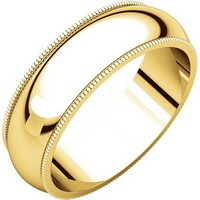 18K Yellow Gold 6mm Milgrain Comfort Fit His and Hers Wedding Band