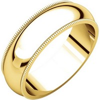 14K Yellow Gold 6mm Milgrain Comfort Fit His and Hers Wedding Band