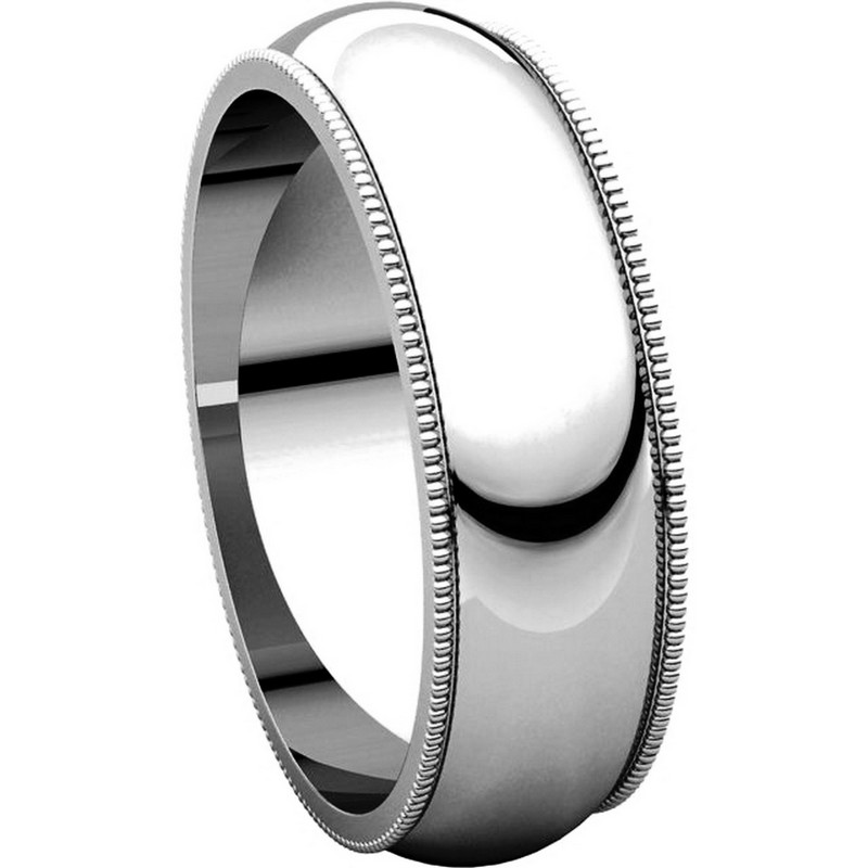 Item # TH23886W - 14K Gold 6mm Milgrain Comfort Fit Wedding Band View-5