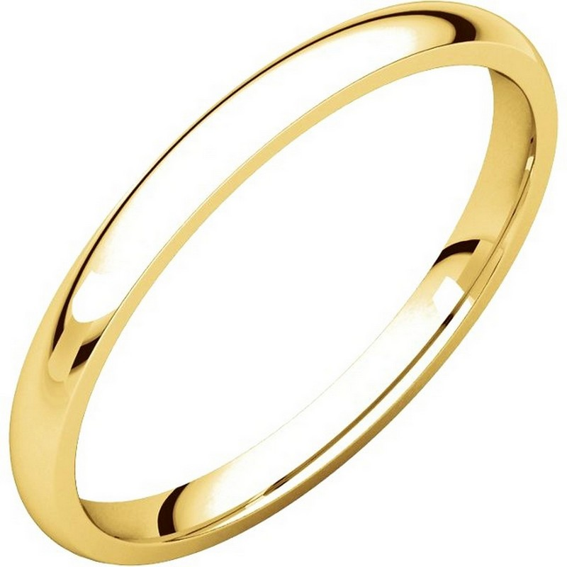 U123781 14K Gold 2mm Wide Comfort Fit Wedding Band