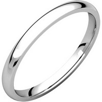 14K White Gold 2mm Wide Comfort Fit Plain Wedding Ring