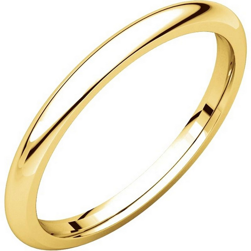 14k Yellow Gold High Polished 2mm Traditional Milgrain: UH123782 14K Gold 2mm Heavy Comfort Fit Plain Wedding Band