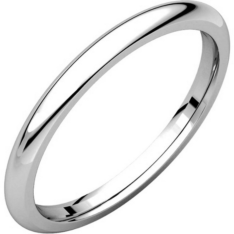 14K White Gold 2mm Wide Heavy Comfort Fit Plain Wedding Band