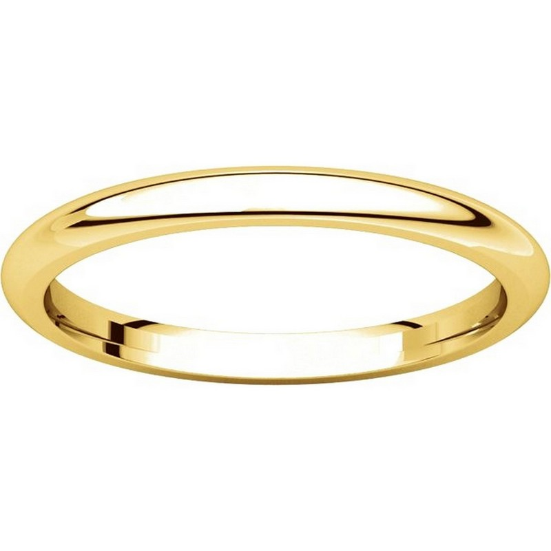 Item # UH123782E - 18K Gold 2mm Heavy Comfort Fit Plain Wedding Band View-3