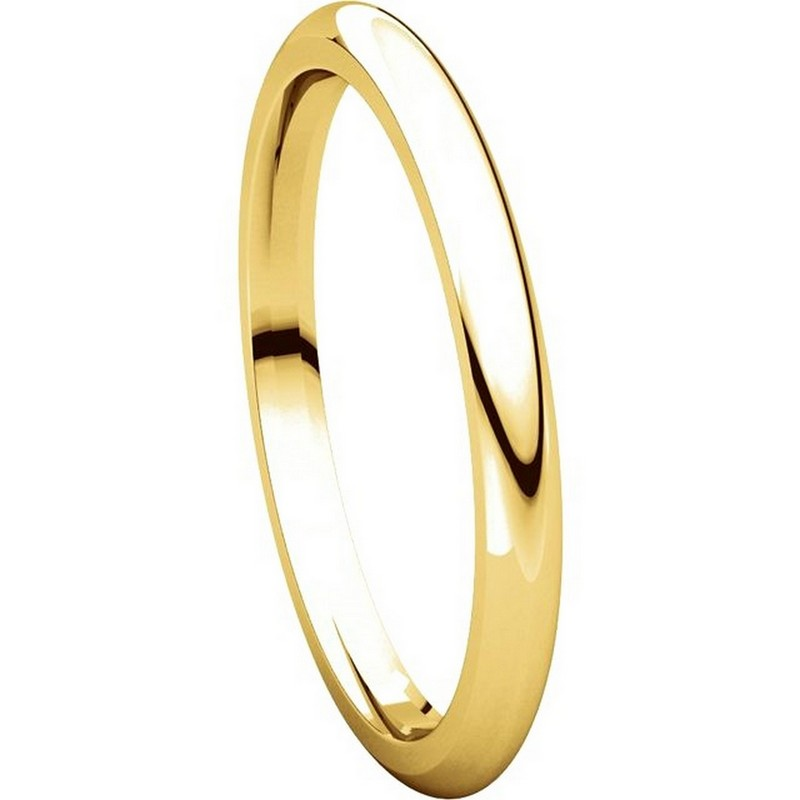 Item # UH123782E - 18K Gold 2mm Heavy Comfort Fit Plain Wedding Band View-5