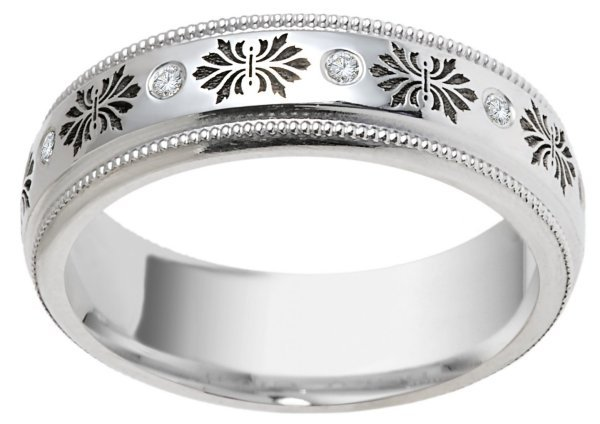Item # V11470PP - Platinum Verona Lace Wedding Band View-2