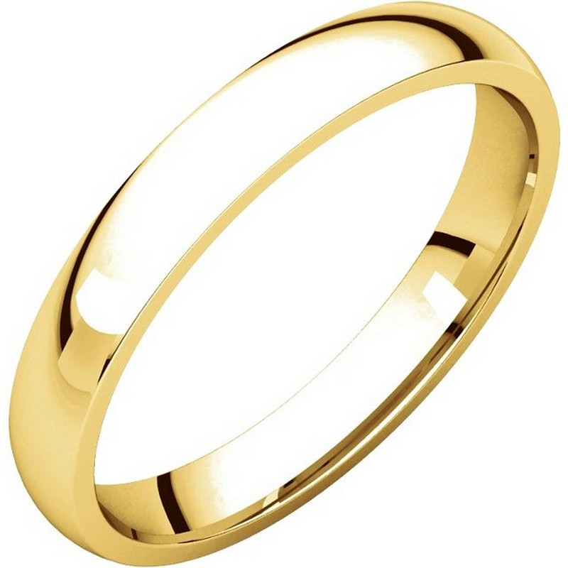 14K Yellow Gold Plain 3mm Wide Comfort Fit Wedding Band