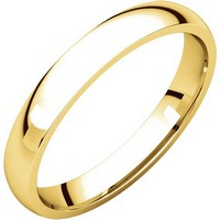 18K Yellow Gold Plain 3mm Wide Comfort Fit Wedding Band