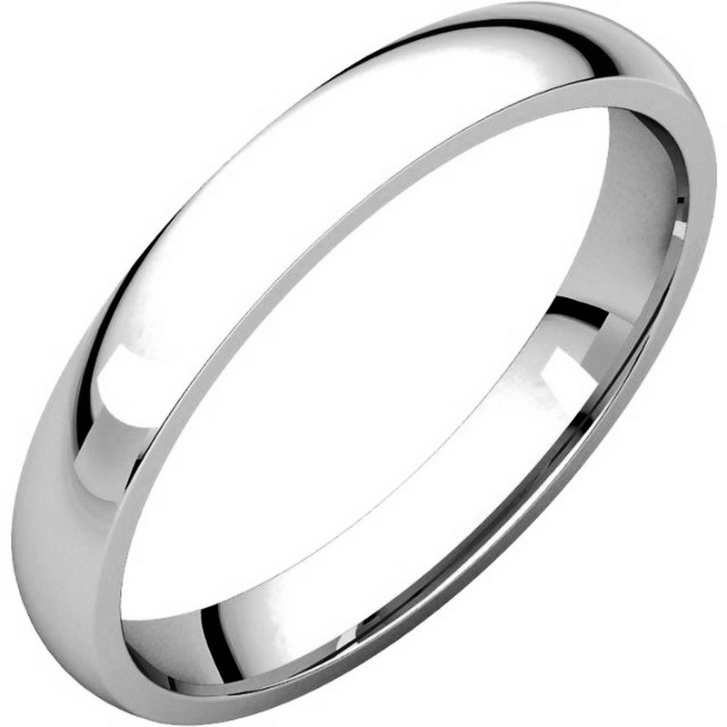 14K White Gold Plain 3mm Comfort Fit Wedding Band