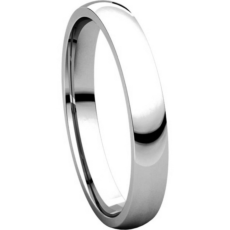 Item # V123791W - 14K White Gold Plain 3mm Comfort Fit Wedding Band View-5