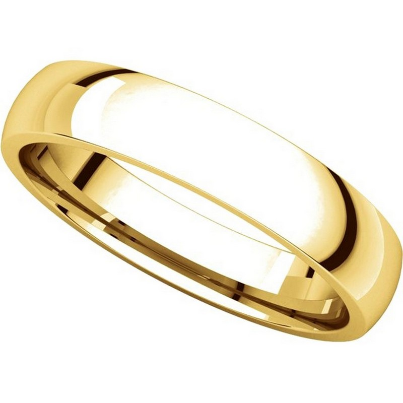 Item # V123801 - 14K Gold Traditional Plain 4mm Comfort Fit Band View-4