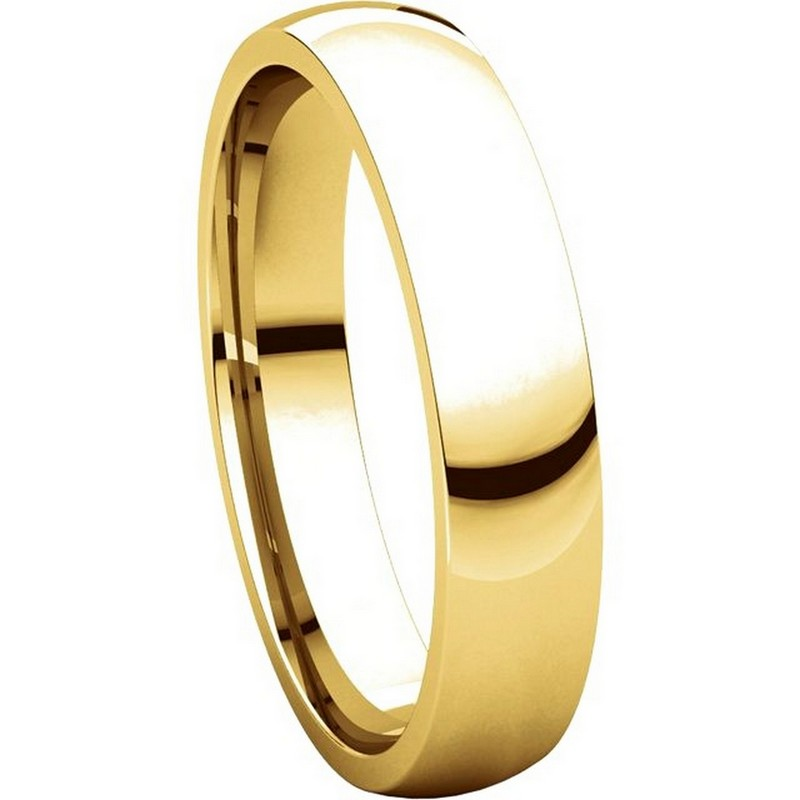 Item # V123801 - 14K Gold Traditional Plain 4mm Comfort Fit Band View-5