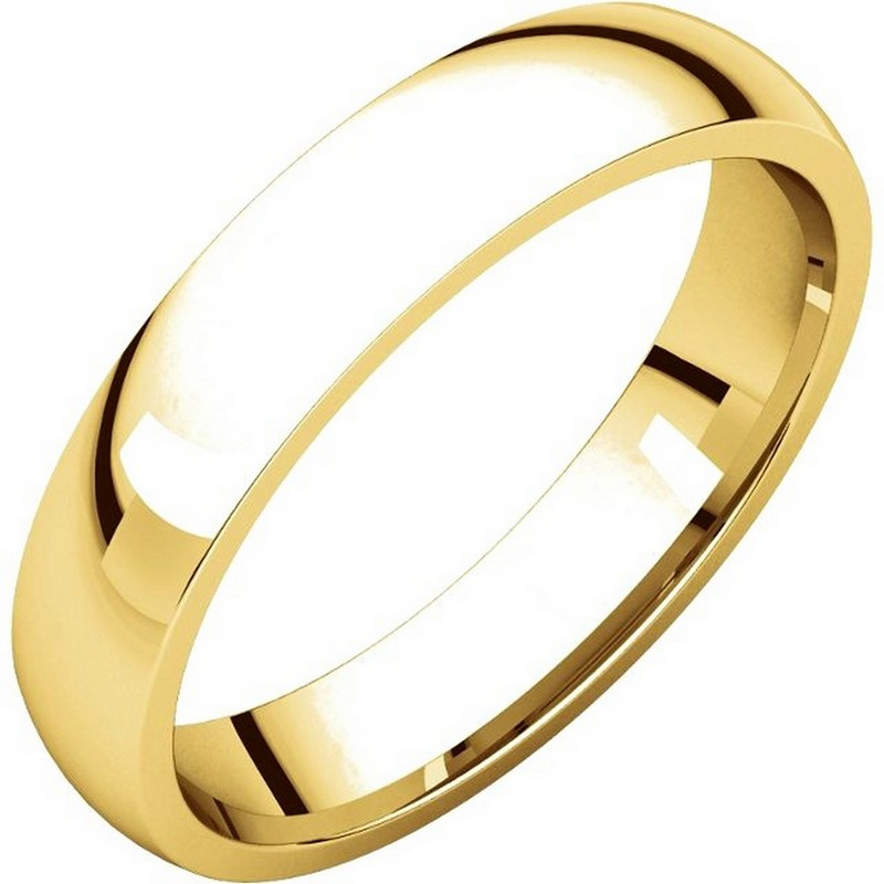 Item # V123801 - 14K Gold Traditional Plain 4mm Comfort Fit Band View-1