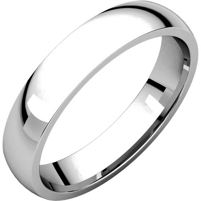 V123801WE 18K White Gold Traditional Plain 4mm Comfort Fit Band