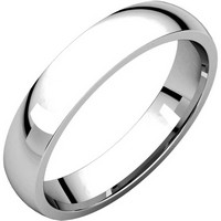 14K White Gold Classical Plain 4mm Wide Comfort Fit Wedding Band