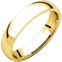 14K Yellow Gold Plain 4mm Wide Comfort Fit Wedding Band