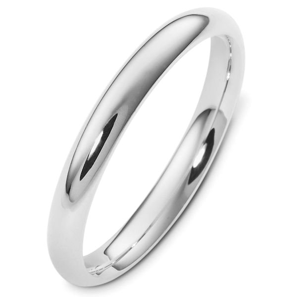 Silver 3mm Wide Heavy Comfort Fit Plain Wedding Band