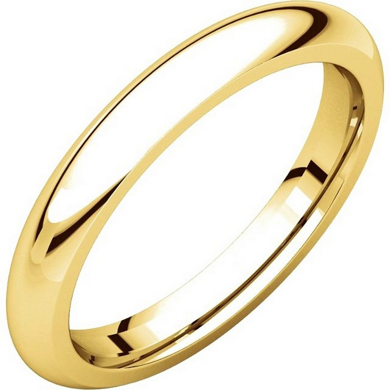 18K Yellow Gold 3mm Wide Heavy Comfort Fit Plain Wedding Band