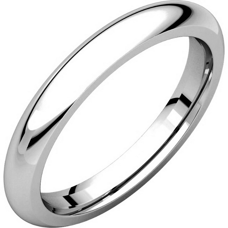 14K White Gold 3mm Wide Heavy Comfort Fit Plain Wedding Band