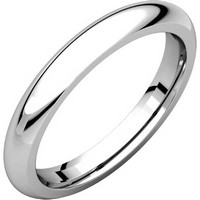 18K White Gold 3mm Wide Heavy Comfort Fit Plain Wedding Band