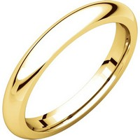 14K Yellow Gold 3mm Wide Heavy Comfort Fit Plain Wedding Band